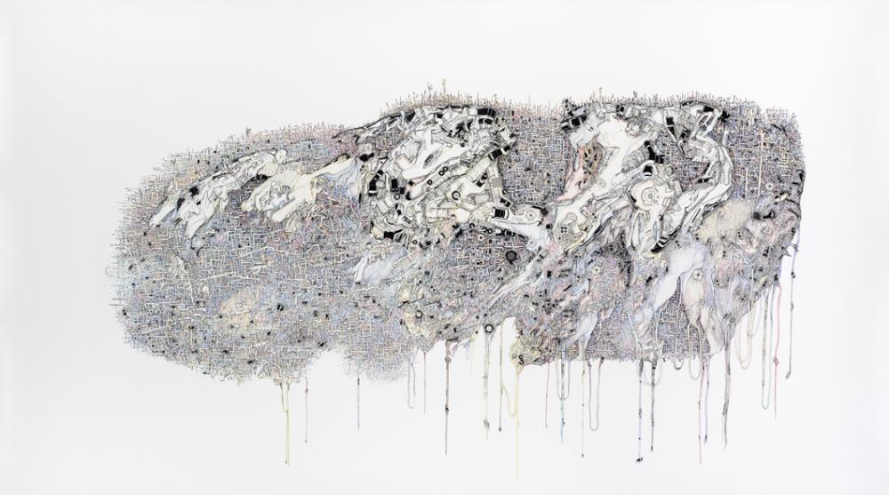Urbanothérapie, 2006. Rotring pen and Letraset on paper, 154 x 240 cm