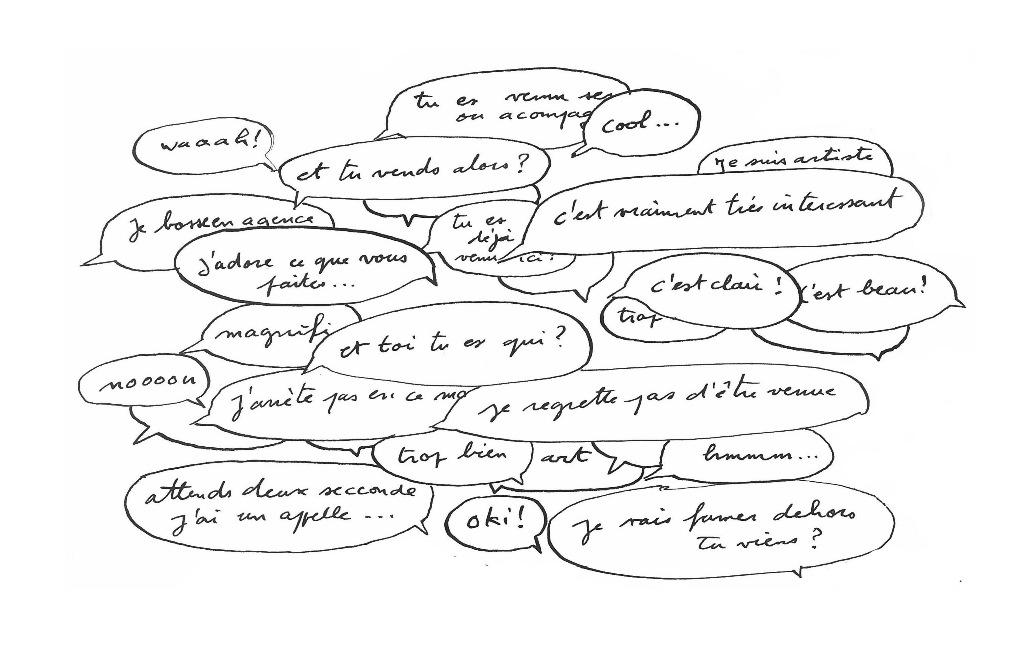 """Clément Plaisir """"Agent d'art"""" extrait de son carnet de Chroniques de la vie culturelle parisienne encres sur papier  9x12"""" (23x30cm) courtesy Projex-MTL"""