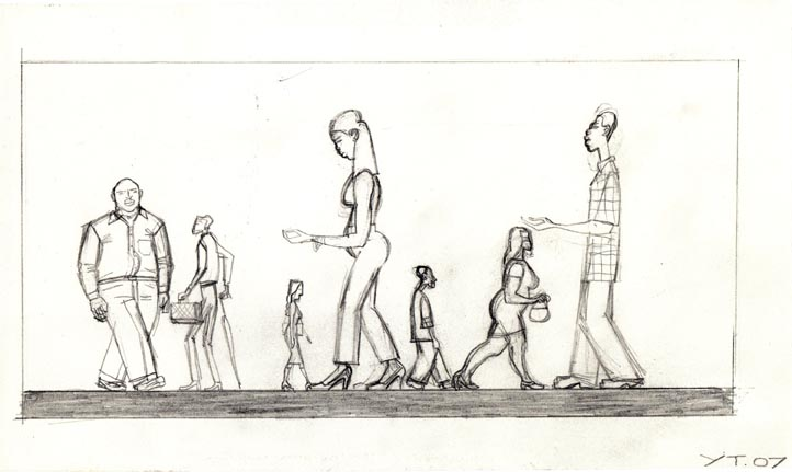 YvesTessier People Walking 2007 6x10 inches courtesy Projex-MTL