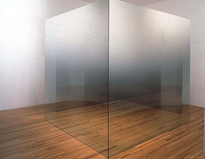 larry bell 6x6x4-C,D,1996, four 12mm glass panels coated with nickel-chrome