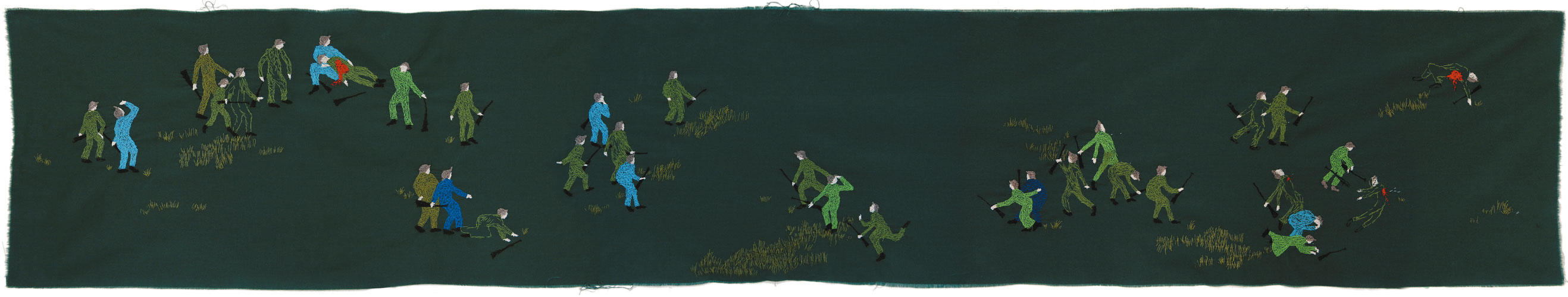 """Heroism, brutality, despair, friendship and death (Epic I)"", 28x 160 cm, thread on fabric"