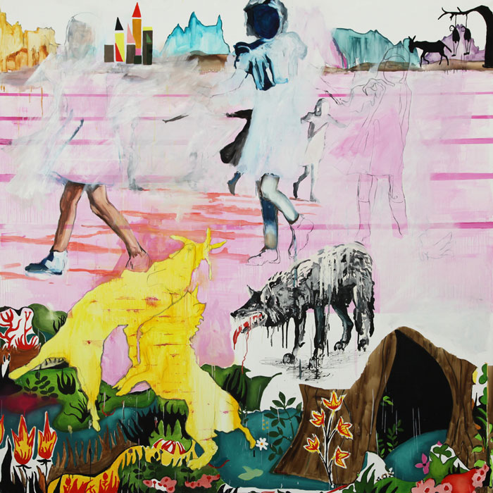 Hou le loup by Florence Reymond - oil on canvas 200m x 200m courtesy the artist