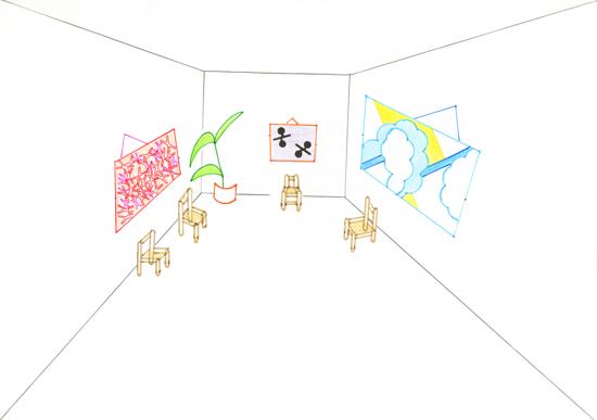 Elvire Bonduelle Les dessins à la règle - 2012 Ink-jet print on aluminium, 70 x 100 cm courtesy the artist
