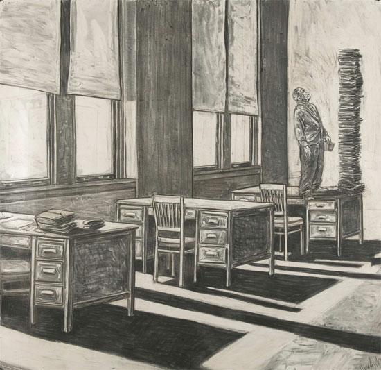 "David Bailin ""Apparition"", 2005, Charcoal on paper 52 1/2"" x 55 1/2"" courtesy Koplin de Rio Gallery"