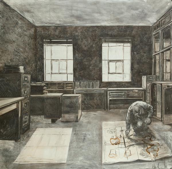 "David Bailin ""Map"", 2006, charcoal on paper, 54"" x 53 1/2"" courtesy Koplin de Rio Gallery"