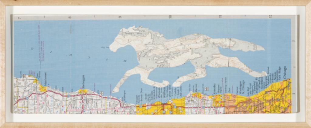 """Christopher Wilde Driftless Horse - 2009 Collage, framed Frame: 4 5/8 x 13 1/2"""" Courtesy Rosamund Felsen Gallery"""