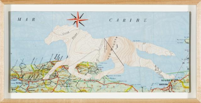 """Christopher Wilde Sargasso Sea or Horse Latitudes - 2009 Collage, framed Frame: 4 5/8 x 10 1/8"""" Courtesy Rosamund Felsen Gallery"""