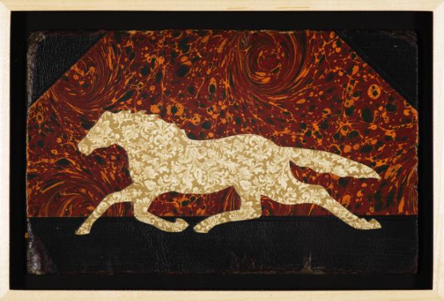 """Christopher Wilde Cosmic Horse - 2009 Collage, framed 6 x 9 5/8"""" Courtesy Rosamund Felsen"""