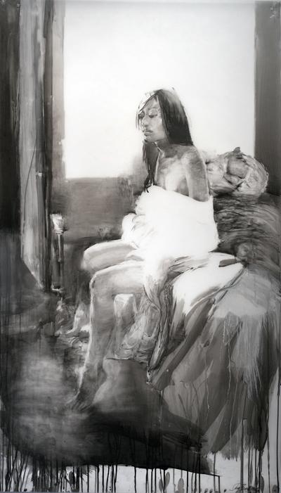 "Shay Bredimus ""In Yuko's Room"", 2009, tattoo ink and mixed media on drafting film, 70"" x 40"" courtesy Koplin de Rio Gallery"