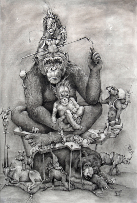 "Adonna Khare  Chimp and Baby, 2008 32 x 42"" 68 x 48 3/8""framed courtesy Lora Schlesinger Gallery"