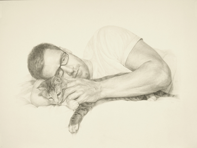 "Enjeong Noh ""Man with a cat"" 2009 colored pencil on paper - 16 3/4 x 22 3/4""  211/2 x 26 1/2"" framed courtesy Lora Schlesinger Gallery"