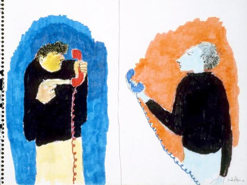 Mindy Alper Untitled  (two telephones) 2006 Ink & marker on paper 9 x 12'' Courtesy Rosamund Felsen Gallery