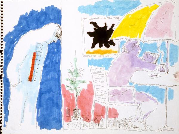 Mindy Alper Untitled (umbrella table) 2006 Ink & marker on paper 9 x 12'' Courtesy Rosamund Felsen Gallery