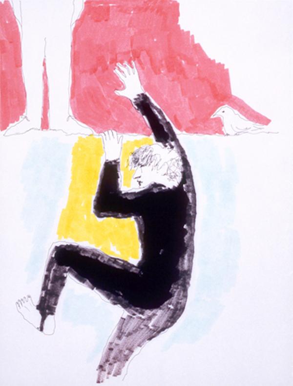 Mindy Alper Untitled (climbing the wall) 2007 Ink & marker on paper 11 3/4 x 9'' Courtesy Rosamund Felsen Gallery