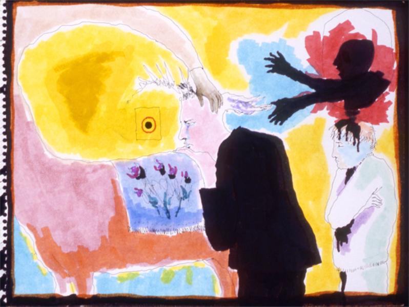 Mindy Alper Untitled (bull's eye) 2006 Ink & marker on paper 9 x 11 3/4'' Courtesy Rosamund Felsen Gallery