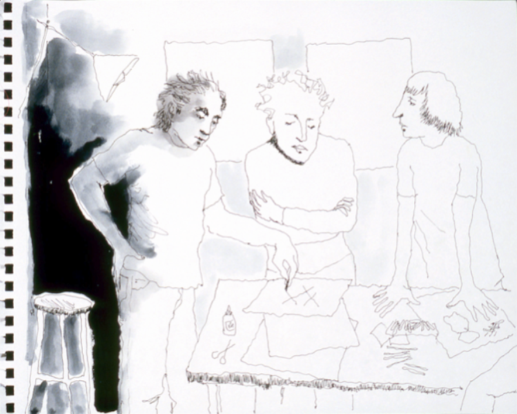 Mindy Alper Untitled (3 xs) 2007 Ink & marker on paper 8 x 10'' Courtesy Rosamund Felsen Gallery