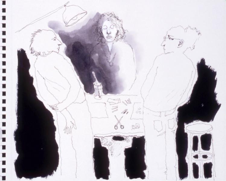 Mindy Alper Untitled (drawing table) 2007 Ink & marker on paper 8 x 10'' Courtesy Rosamund Felsen Gallery