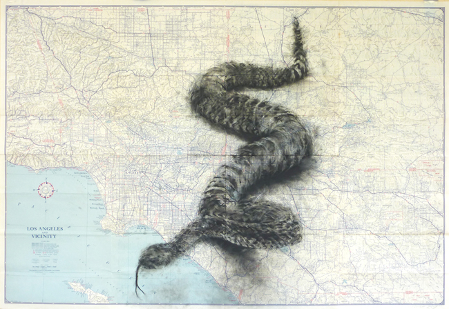"Lynn Hanson Apex to Santa Catalina, 2009 charcoal on vintage road map 29 x 42"" courtesy Lora Schlesinger Gallery,"