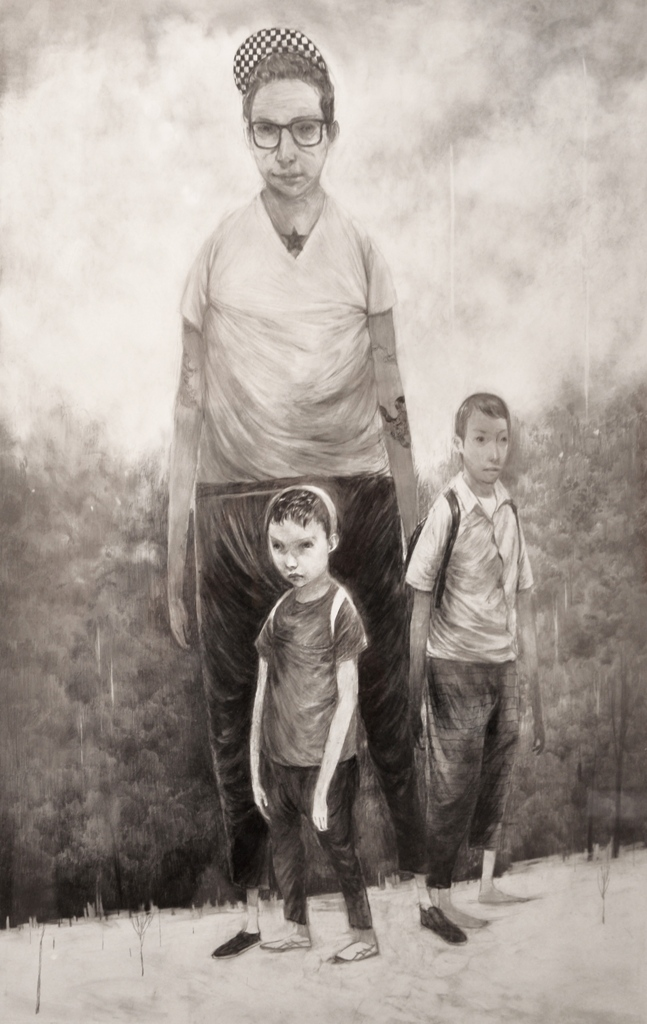 Andrew Hem A Possibility 27, graphite & charcoal on paper, 21 x 14 inches Courtesy Le Basse Projects