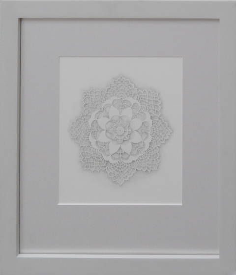 "Laura Lasworth Alencon 3, 2004 graphite on illustration board 10 x 9"" 19"" x 17"" framed courtesy Lora Schlesinger Gallery"