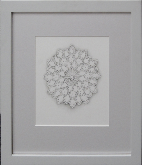 "Laura Lasworth Alencon 2, 2004 graphite on illustration board 10 x 9"" 19 x 17 framed courtesy Lora Schlesinger Gallery"