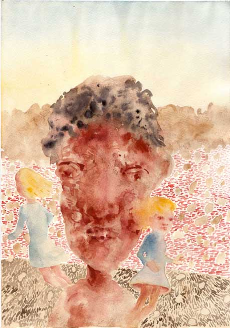 Michael Kalmbach Kopf / Head (2007-09), 2007 Aquarell auf Papier / Watercolour on paper - 29,7 x 21 cm Courtesy Thomas Rehbein Gallery