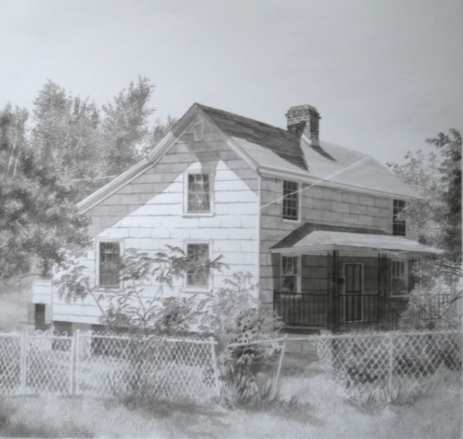 Jared Buckhiester The Green House on Main Street, 2009 Graphit, Tusche auf Papier / Graphite, ink on paper 46 x 48,5 cm Courtesy Thomas Rehbein Gallery