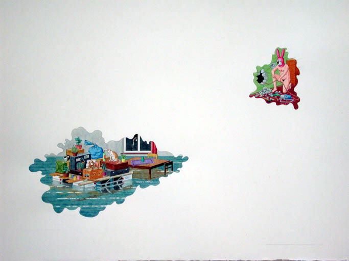 Johannes Spehr ohne Titel (Fluchfahrzeug/Umwertung (Gewässererweiterung)/Substrategische Nische (Transportable)/Tierimitation) / Untitled (getaway car/reevaluation (water extension)/substrategical niche (transportable)/animal animation), 2003 Aquarell und Bleistift auf Papier / Watercolour and pencil on paper 56,5 x 75,5 cm Courtesy Thomas Rehbein Gallery