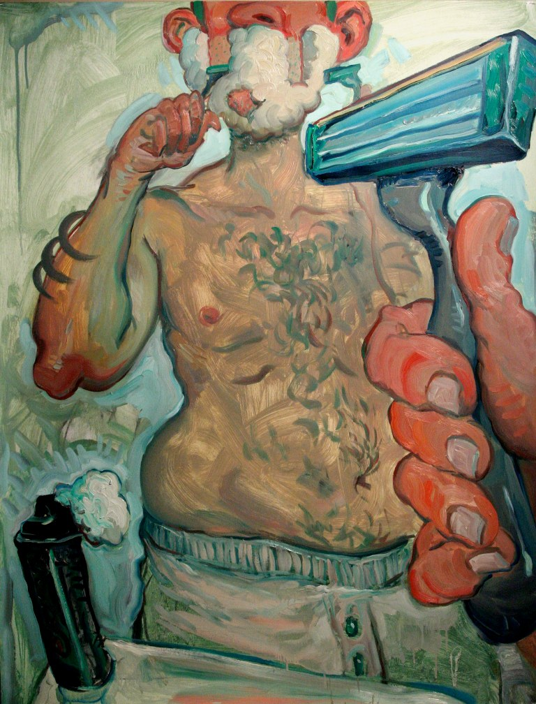 "Untitled (Shaving)  2009 charcoal and oil on PVA coated paper 50"" x 38"" courtesy thes artist"