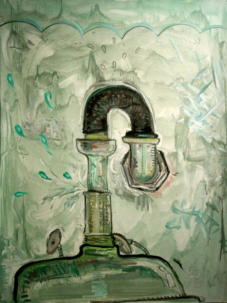 "Upside-down Sink Pipe  2009 charcoal and oil on PVA coated paper 50"" x 38"" courtesy thes artist"