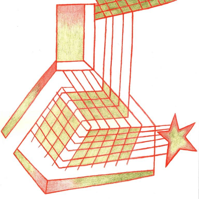 ROXANE BORUJERDI Trifle Cloud (2009) série de dessins, - 2009 - crayon de couleurs, 25x25 cm Courtesy Galerie Lucile Corty