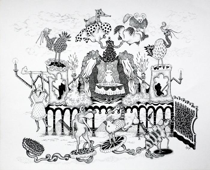 Claire Fanjul, Les alchimistes, encre sur papier, 2009 courtesy Artegalore