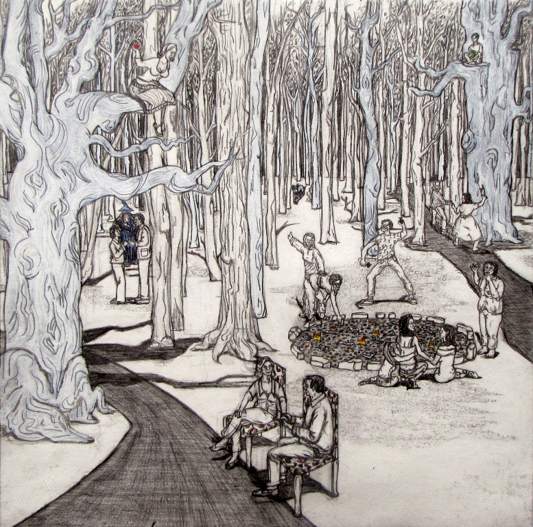 """Axelle CANNET """"Forêt familiale"""" - 2009 Graphite, crayons de couleur et gouache sur papier - 39x39cm courtesy the artist and Association Premier Regard sur la Création Artistique"""