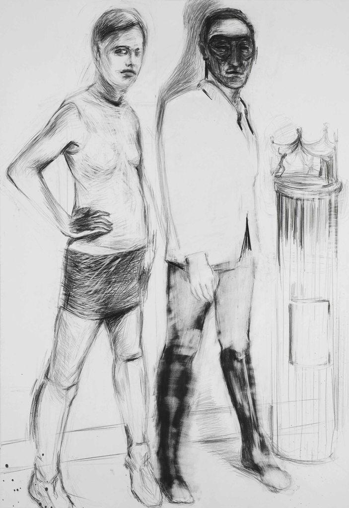 """Iris Levasseur Deux soeurs (série """"Quelques vies de la tarentule""""), 2009 Dessin à la mine de plomb sur papier -102x72 cm courtesy Galerie Odile Ouizeman"""