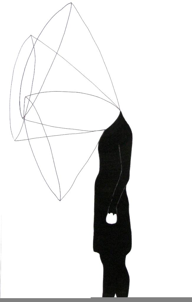 EMILIE PITOISET Les Collerettes (2008), encre sur papier, 120 X 80 cm framed Courtesy Galerie Lucile Corty