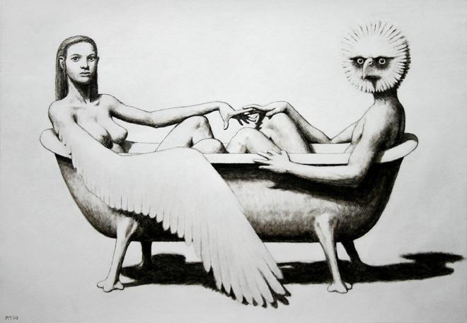 Pierre Monestier, Le bain, acrylique sur papier, 2009 courtesy Artegalore