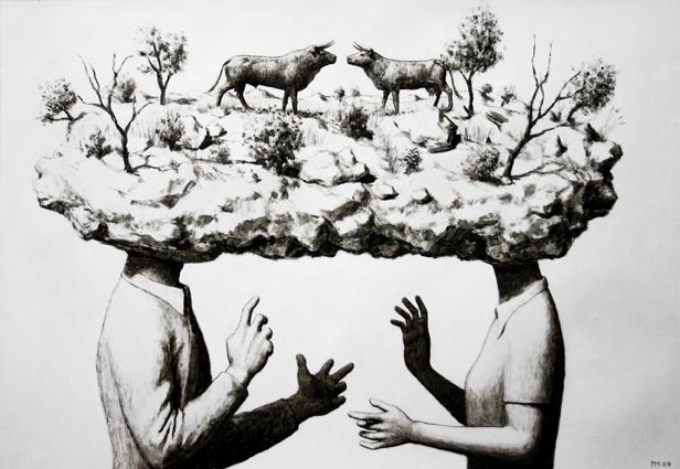 Pierre Monestier accord transhumé, acrylique sur papier, 2009 courtesy Artegalore