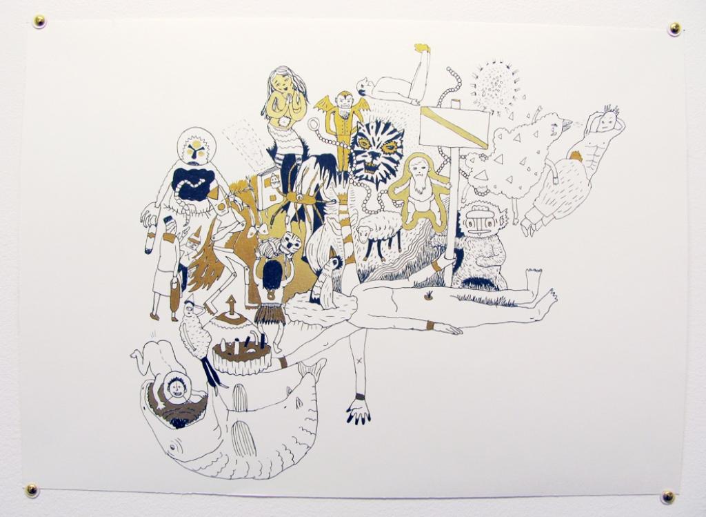 PAVEL STRNAD Sans titre (série encre et or) 2009 encre sur papier 42 x 29,7cm Courtesy Galerie Lucile Corty