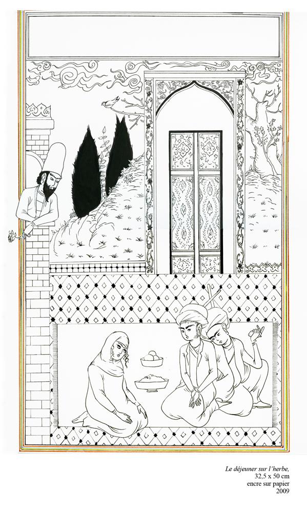 Achraf Touloub, Le déjeuner sur l'herbe, 2009 Encre sur papier, 32,5 x 50 cm Courtesy Galerie Martine et Thibault de la Châtre