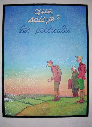 """Glen Baxter, """"Sans titre"""" (Que sais-je ? les pellicules), 2007 Encre et crayon de couleur sur papier, 77 x 57 cm Signé et daté ; 1/1 Courtesy Galerie Martine et Thibault de la Châtre"""