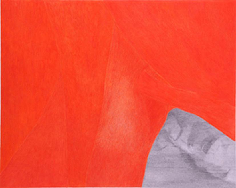 """Elise Beaucousin """"Muscle crispé sur paysage"""" - 2008 Mine de plomb et crayon de couleur sur papier - 87x70cm courtesy the artist and Association Premier Regard sur la Création Artistique"""