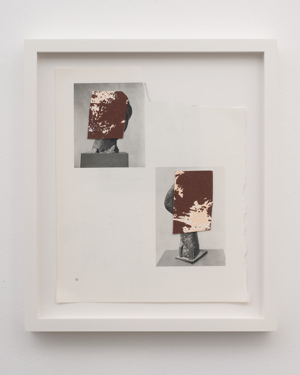 Brion Nuda Rosch, 2 Busts, 2012 Acrylic on paper on found book page, 11.5 x 9 in. courtesy Sonce Alexander Gallery