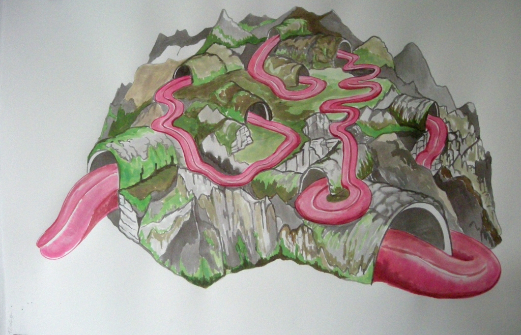 Paysage grotesque, 2010 Aquarelle 57 x 38 cm  courtesy the artist