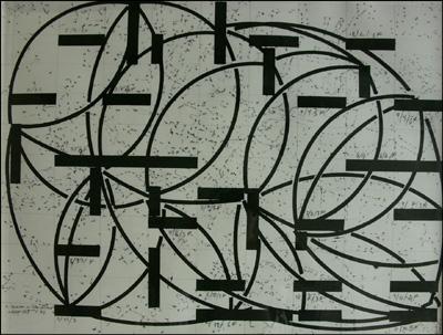 Dieter Apelt Glas Cinema Partitur - 1999 Encre sur papier / ink on paper - 80 x 70 cm courtesy Galerie Françoise Paviot clik here for more infos & Galerie de Bayser