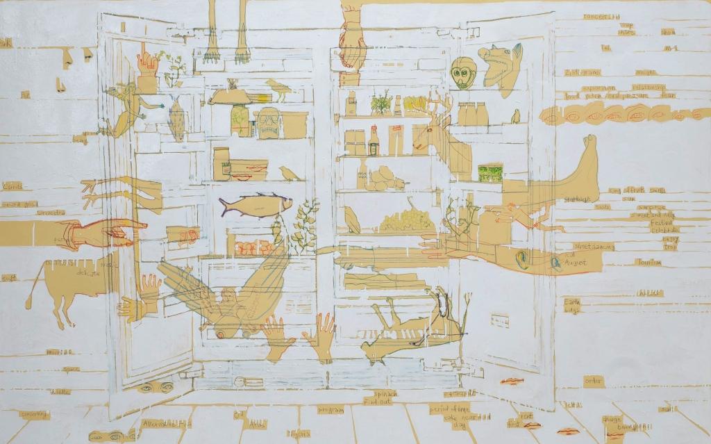 Julie Polidoro Frigo habité, 2009 émail et crayons de couleurs sur papier  - 130x208 cm courtesy Galerie Odile Ouizeman