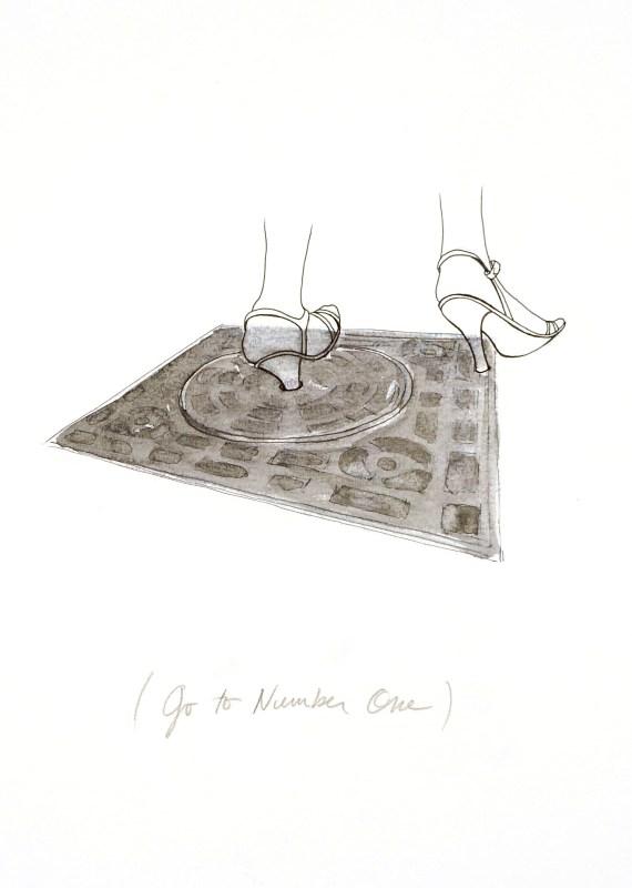 """Mary Pupet, """"Go to number one"""", 2008 Dessin acrylique et encre de Chine sur papier, 50 x 65 cm Courtesy Galerie Martine et Thibault de la Châtre"""