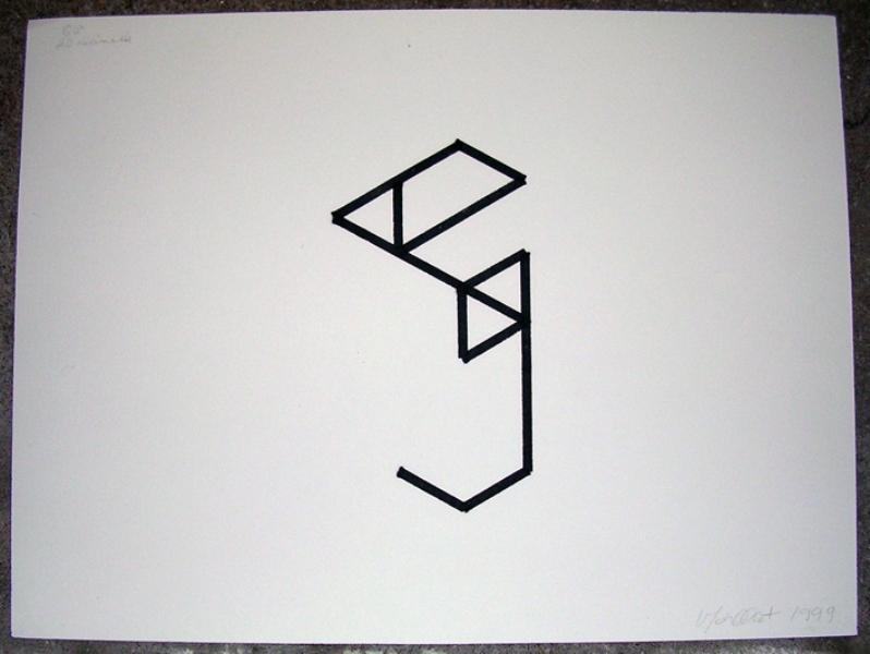 """François Morellet """"60°-20° décimales"""", 1999 Marker sur papier aquarelle Arches, 46 x 61 cm Signé et daté, 1/1 Courtesy Galerie Martine et Thibault de la Châtre"""