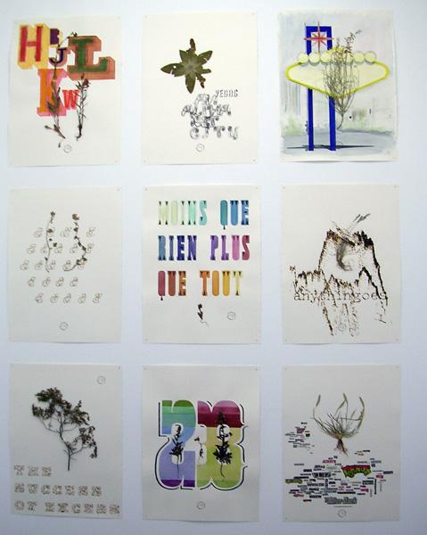 """Daniel Perrier, """"Las Vegas - Santa Fe, Herbarium"""", 2007 Technique mixte sur papier Arche, 77 x 57 cm Courtesy Galerie Martine et Thibault de la Châtre"""