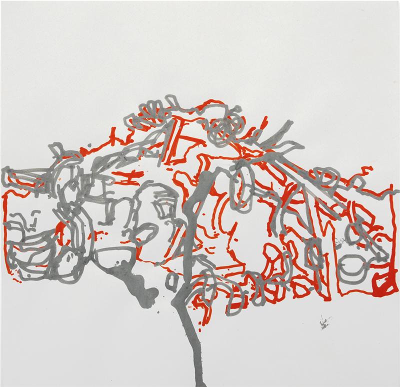 Gilles Gerbaud Tas - 2007 Feutre acrylique sur papier - 32 x 32 cm courtesy Galerie Françoise Paviot clik here for more infos & Galerie de Bayser