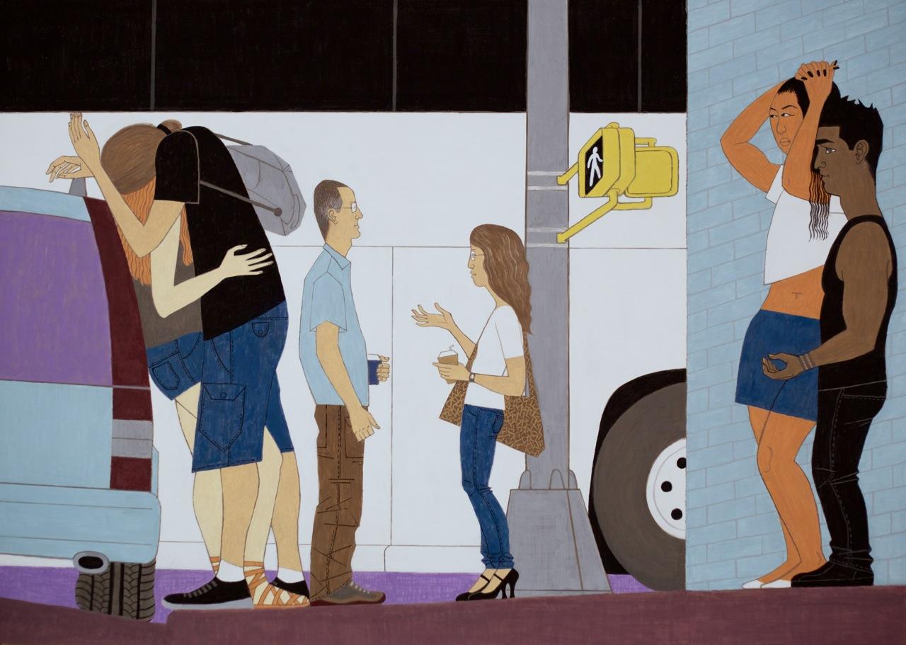 Big White Bus, 2014, casein on aluminum, 37 x 52 inches courtesy the artist